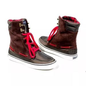 Sperry Acklin Brown Red Plaid Ankle Boots